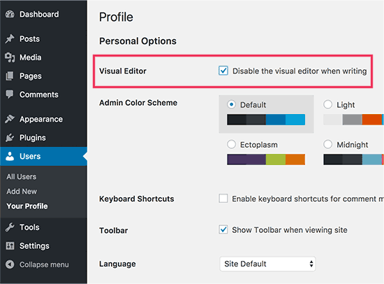 Disable visual editor in WordPress