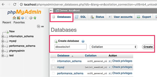 Creating a MySQL database for your local WordPress site