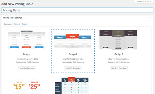 Select a template for your pricing table
