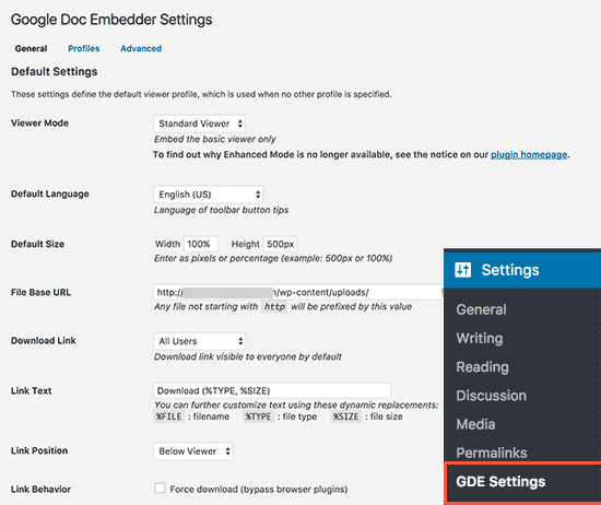 Google Docs Embedder settings