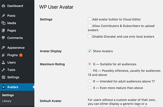 WP User Avatar settings
