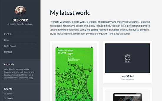 Designer Is Creative WordPress Theme To Showcase Your Resume And Portfolio.  The Homepage Has A Two Column Layout On Desktop, And A Single Column Layout  On ...  Resume Wordpress Theme