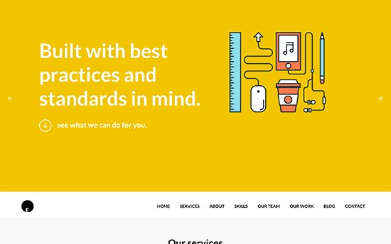 oneengine is a creative one page wordpress theme for professionals it has a beautiful layout builder and sections to add services and portfolio items