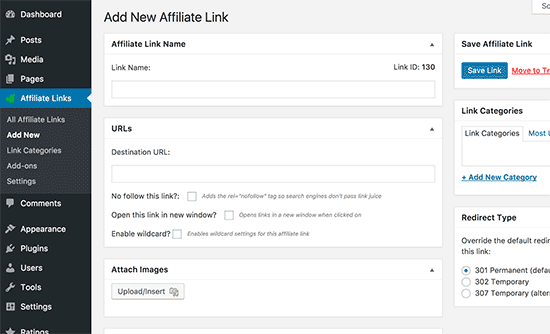 Adding affiliate links in WordPress with ThirstyAffiliates