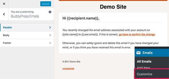 Customize emails