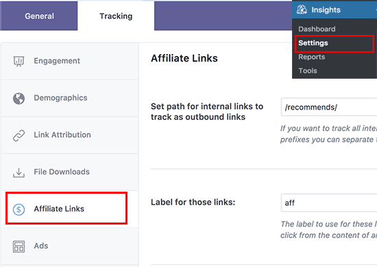 Affiliate link tracking in MonsterInsights