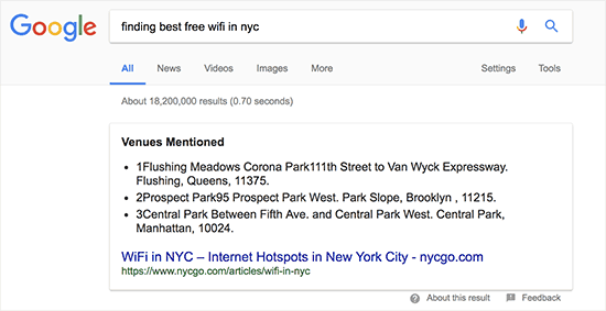 A search term displaying Google Answer Box