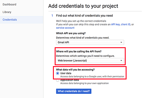 API credentials step 1
