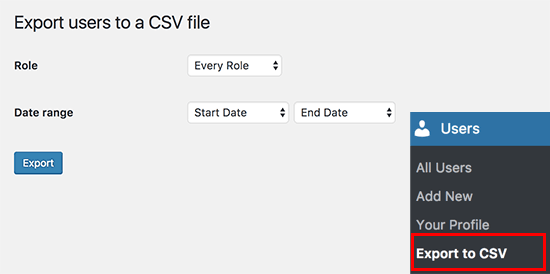 Export to CSV settings