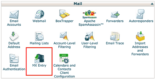 MX Entry icon in cPanel