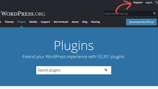 Register for free WordPress.org account