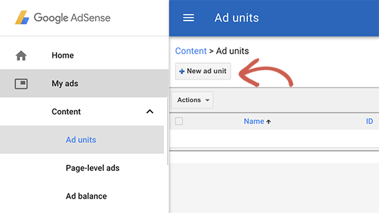 Creating a new AdSense ad unit