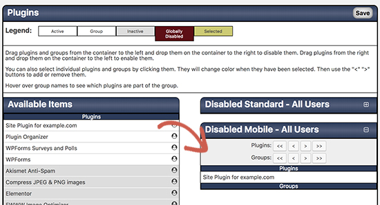 Disable plugins in mobile version