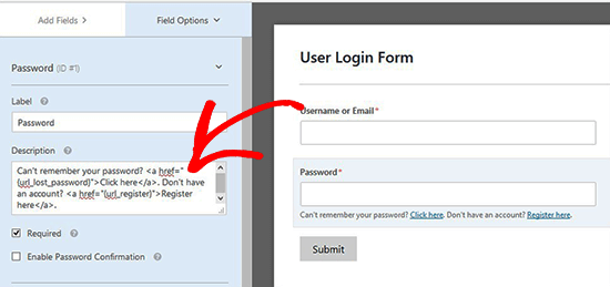 Add password options