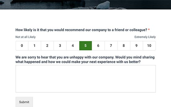 NPS survey form with feedback field