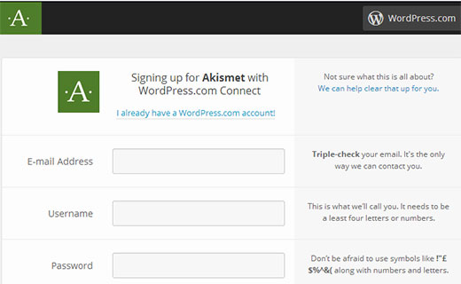 Akismet sign up with WordPress.com Account