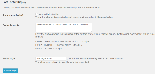 Post Expirator Footer Settings - WordPress Plugin