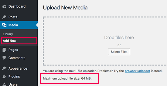 Checking maximum file upload size limit in WordPress
