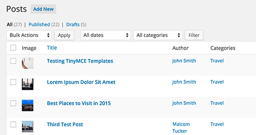 Featured image column on the posts screen in WordPress admin area
