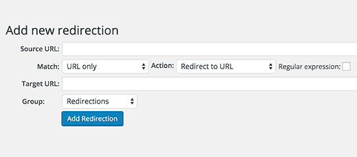 Adding a new redirect in WordPress with Redirection plugin