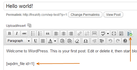 WordPress Download Manager Shortcode in Posts