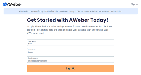 Enter your name and email address to sign up for AWeber's free plan