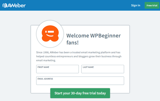 Sign up for AWeber with our WPBeginner AWeber coupon
