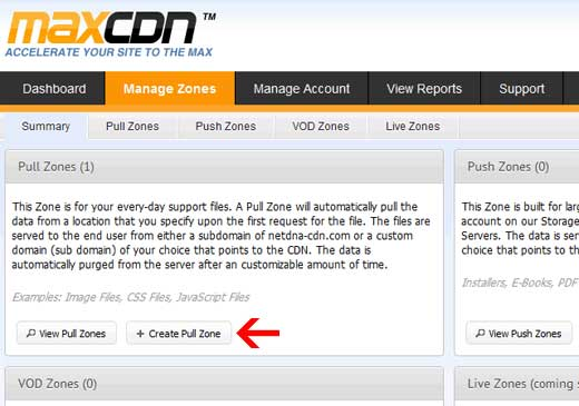 MaxCDN Create Pull Zone