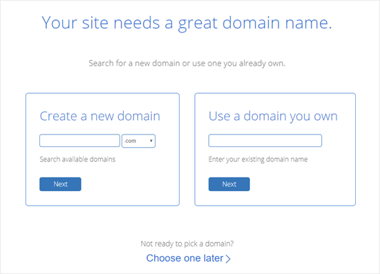 Selecting the domain name you want to use with the Bluehost deal