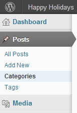 Category menu under posts in WordPress admin dashboard