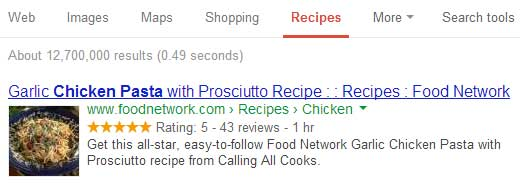 SEO Friendly Recipe View in Google