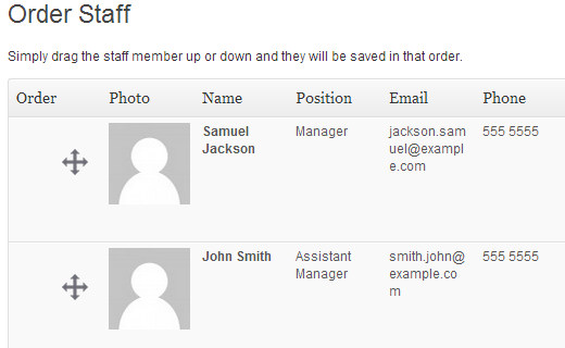 Arrange staff list order
