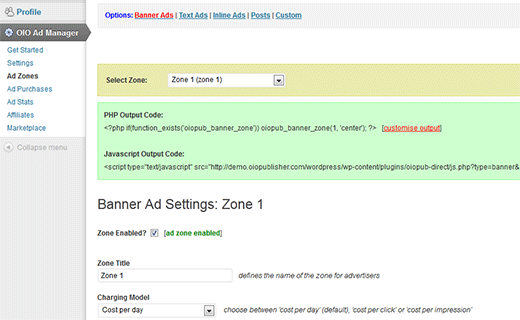 OIO Publisher WordPress plugin admin view