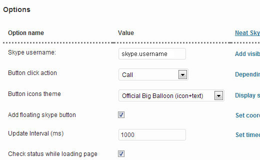 Configuration options of Neat Skype Status
