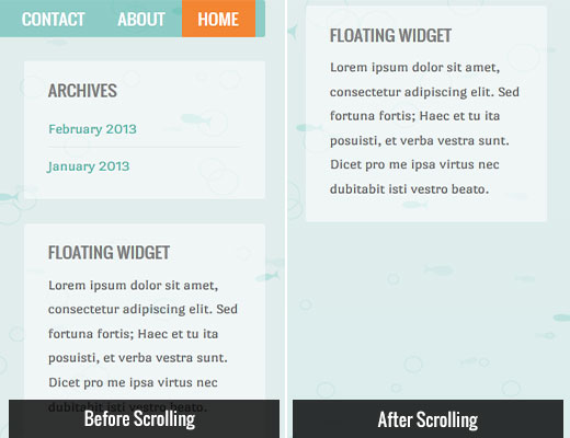 Sticky sidebar floating widget demo