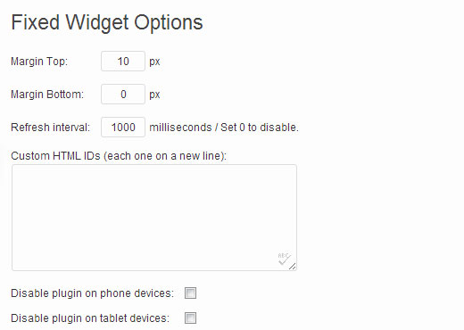 Configuration options for sticky floating sidebar widget plugin