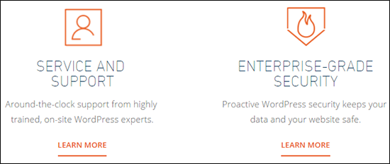 WP Engine offers advanced security and support features