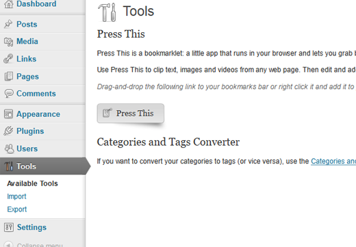What is Tools in WordPress