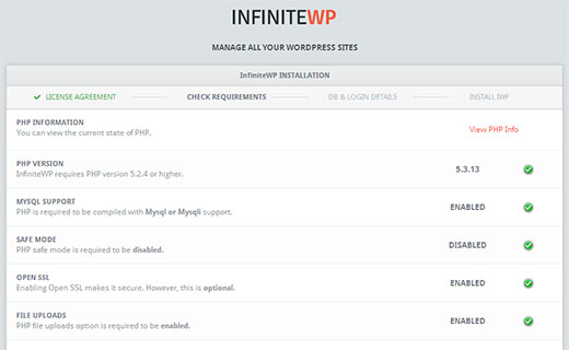 InfiniteWP will check for system requirements before the installation