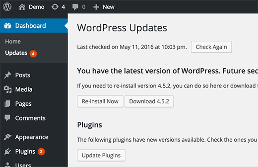 Notifications for Updates in WordPress