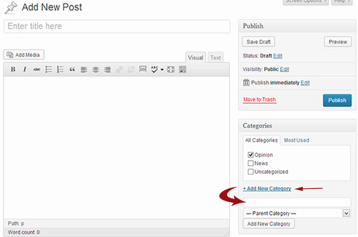 Adding a category from post edit screen in WordPress
