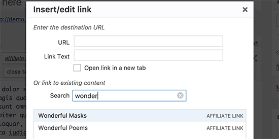 Search and add affiliate links in text editor