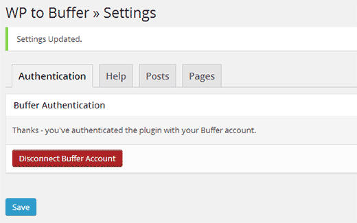 Buffer successfully connected to your WordPress site