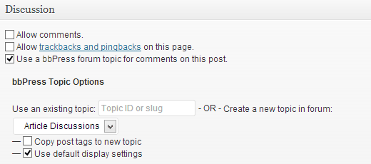 bbPress forum settings in discussion box on post edit screen