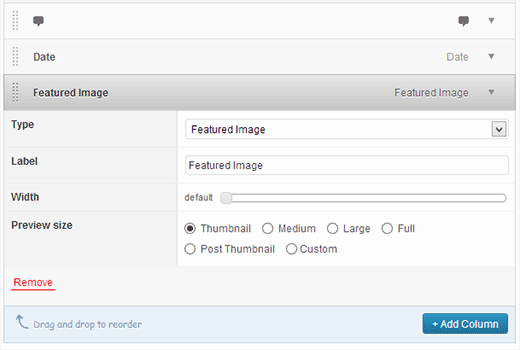 Adding a featured image column in Posts admin screen