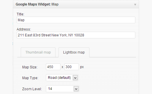 Google Maps Widget Settings
