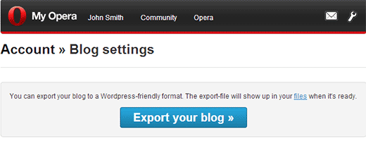 Export your My Opera blog
