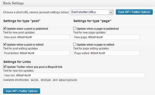 Configuring WP to Tweet settings