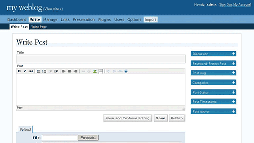 WordPress 2.0 Admin Interface