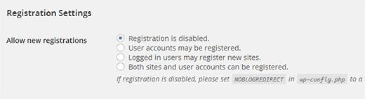 Registration settings on a WordPress Multisite Network